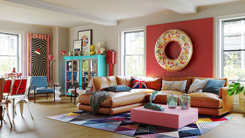 An Eclectic Interior of a Living Room Made in Pop-Art Design Style