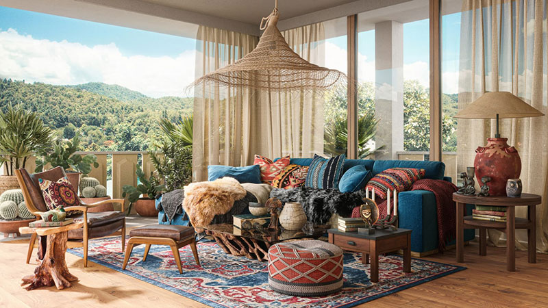 A Living Zone Made in Eclectic Boho Design Style