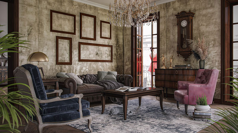 An Eclectic Interior Design for a Living Room in a Vintage Style