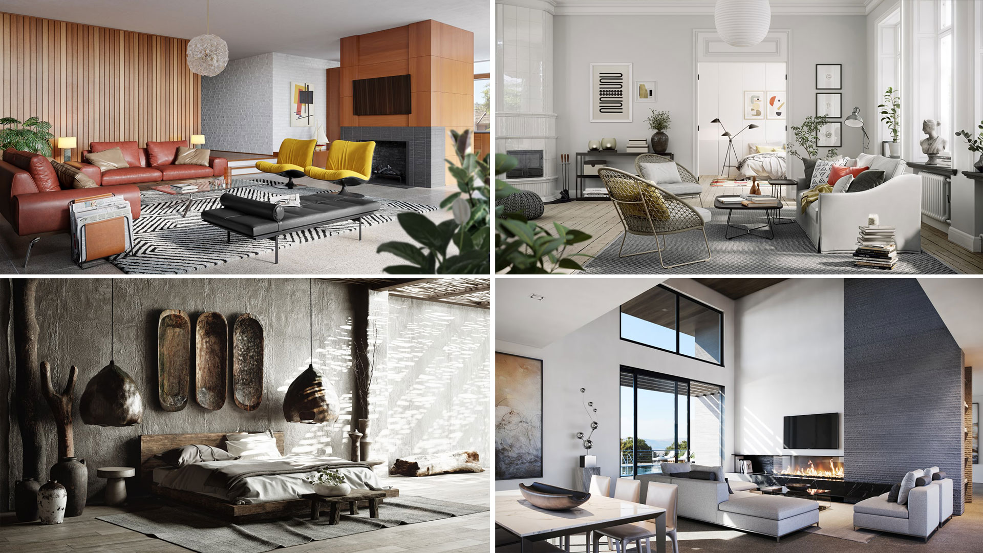 Four Types of Modern Interiors in Different Styles