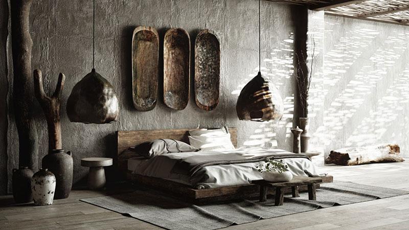 3D Render of Modern Interior with Wabi-Sabi Design Aesthetics