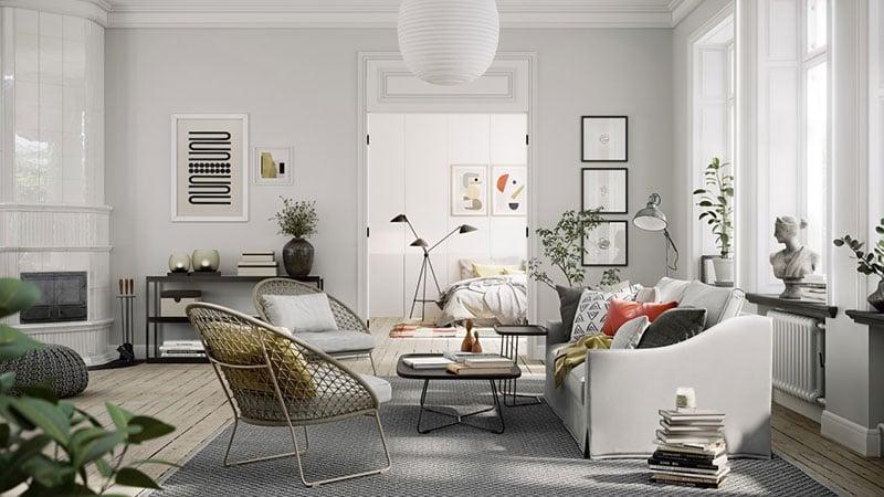 An Interior of a Living Room Made in Modern Scandinavian Design