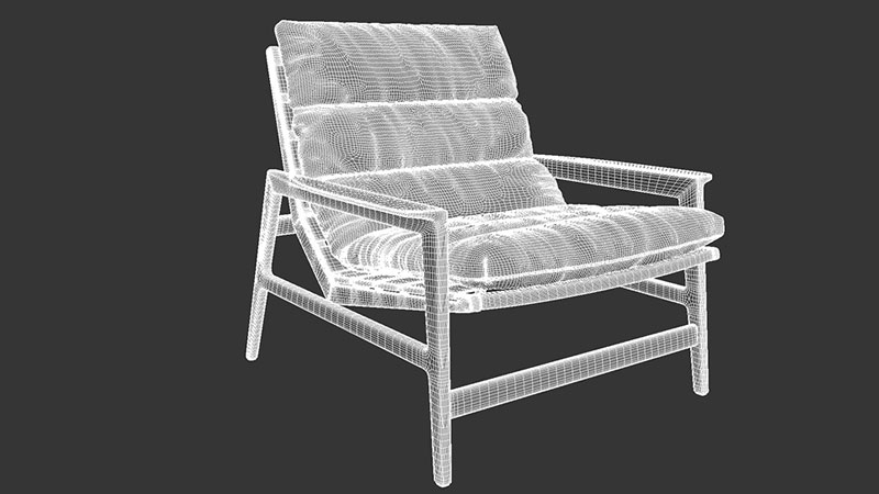 A Realistic 3D Model of a Chair Ready for Furniture Render