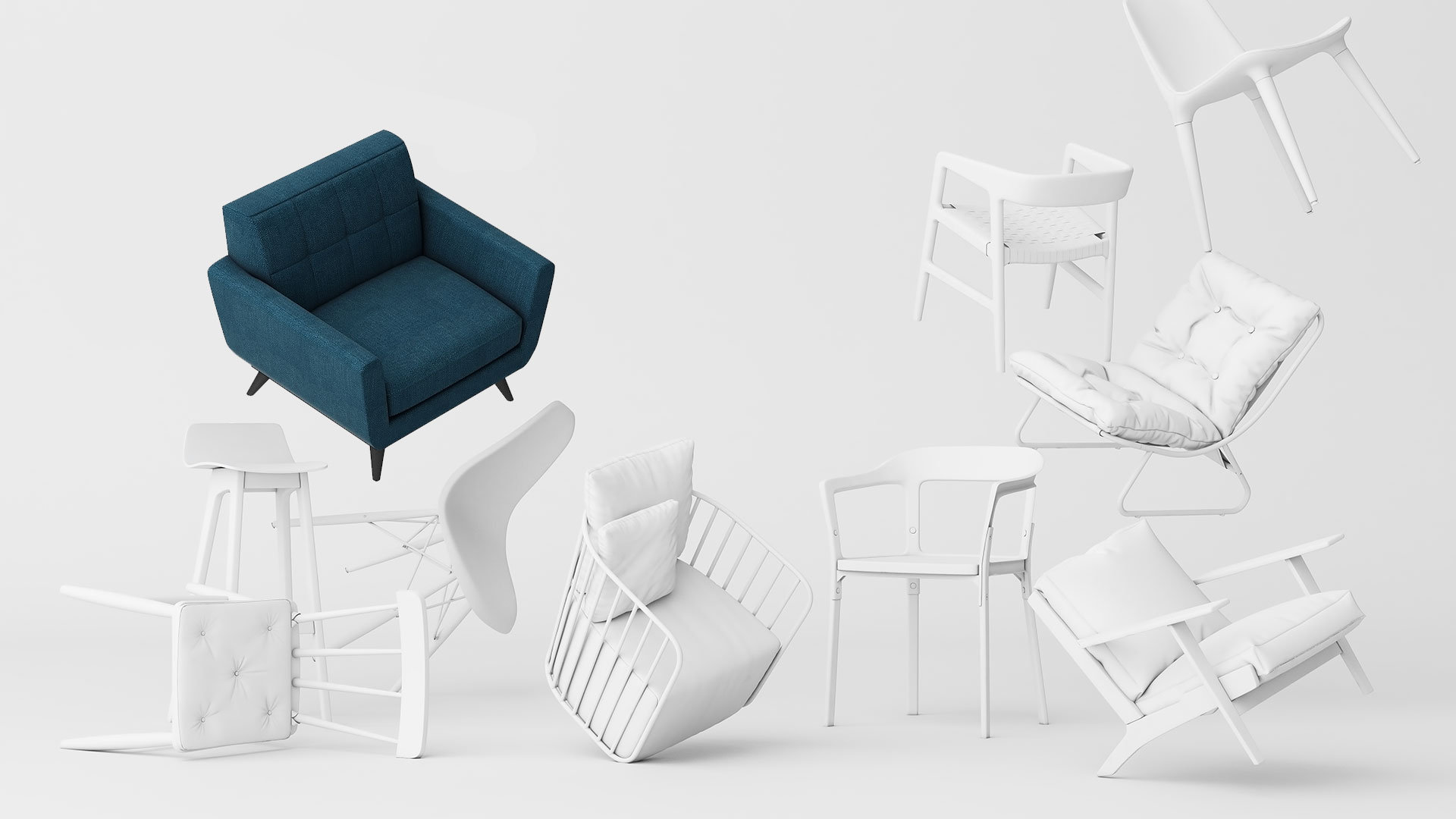 Realistic 3D Models of Flying Chairs for Furniture 3D Rendering