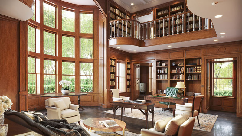 An Traditional Interior of Family a Room with a Library Designed in Federal Style