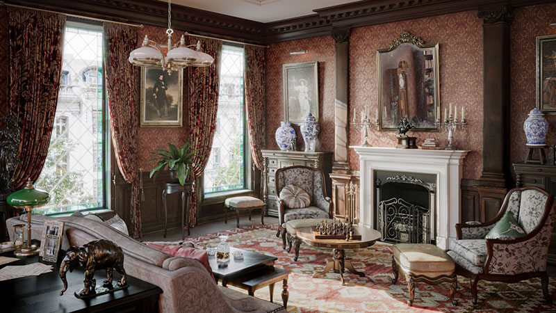 A Traditional Interior That Is Designed for a Victorian Style Furniture