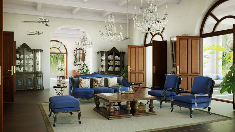 Colonial Interior Design Combining Imperial and Colonial Decorative Traditions