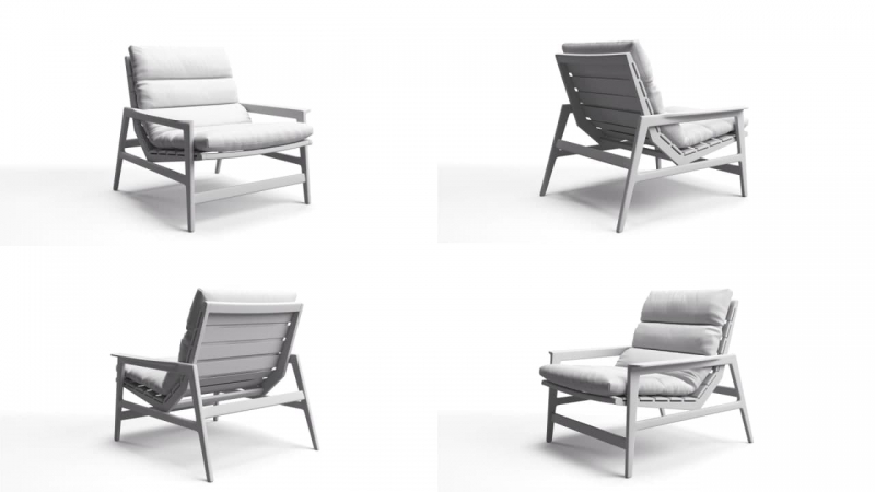 A Collage of Four Views of Chair Product 3D Renderings