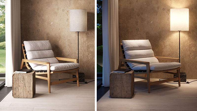 Two 3D Scenes of a Product and Surroundings for a 3D Rendering Project
