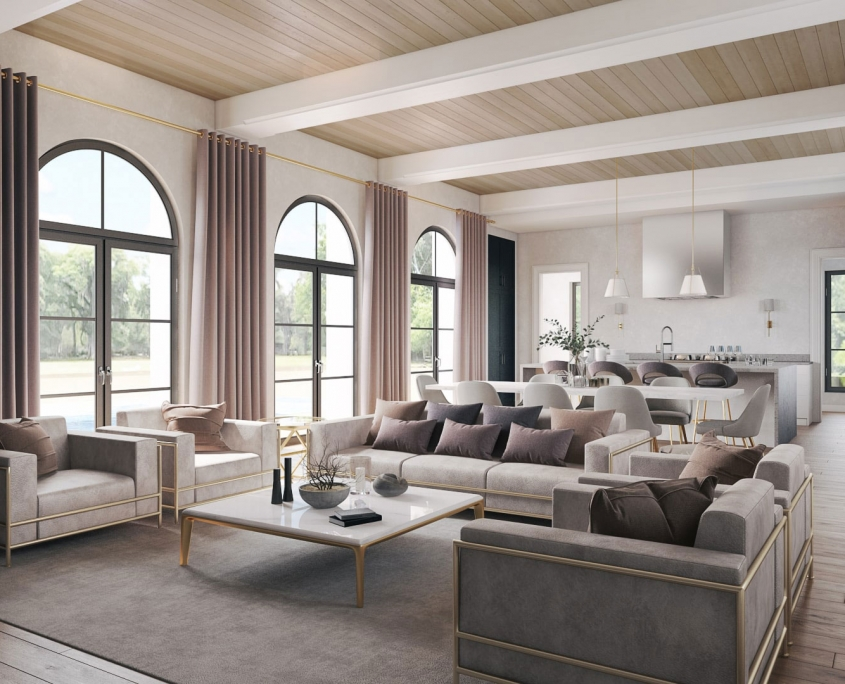 3D Rendering of Living Area as a Perfect Background for a Furniture Collection