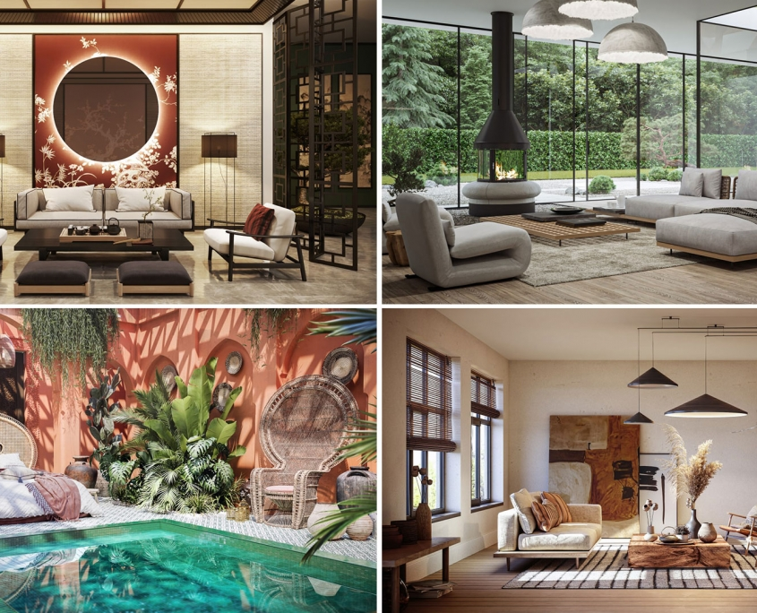 A Collage of Four Interior Design Styles for Ethnic Roomsets