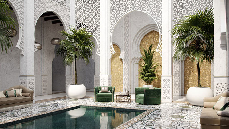 Arabian Interior Design of a Patio with Ethnic Arches and Mosaic Floors