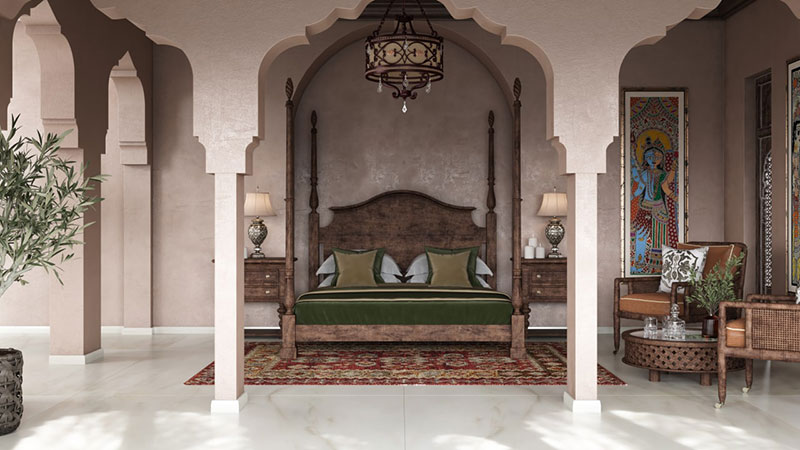 Ethnic Design in Indian Style of a Bedroom