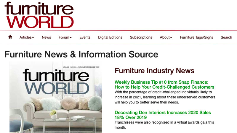 A Screenshot of a Furniture World Magazine First Page