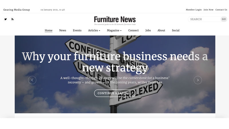 A Snapshot of a Furniture News Magazine Main Page