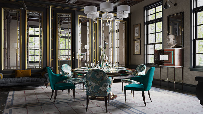 New Empire Interior Design for a Luxury Dining Room