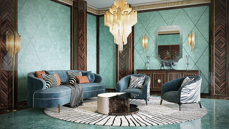 Design of a Luxury Living Room in Art Deco Interior Style