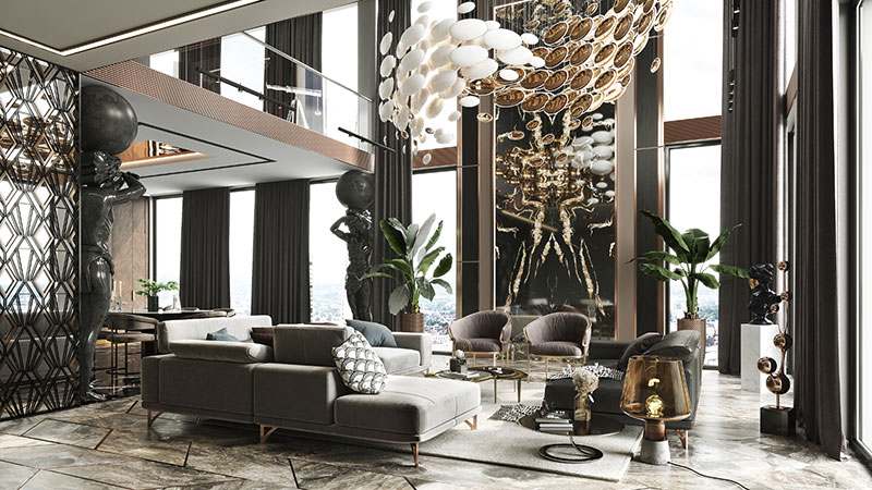 Interior Design of a Luxury Living Room with Plenty of Opulent Furniture and Decor