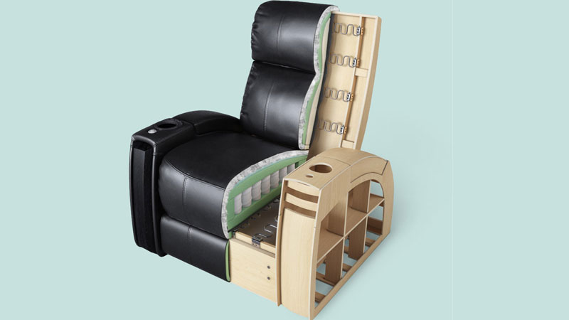 A Cut-Out View of a Furniture 3D Model Showing the All the Layers of Inner Structure
