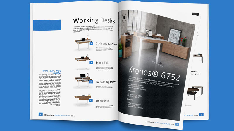 A Kronos Catalog with Product 3D Models on a White Background and Photoreal Renderings