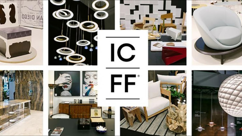 A Collage of Various Products and a Logo of ICFF Furniture Exhibition
