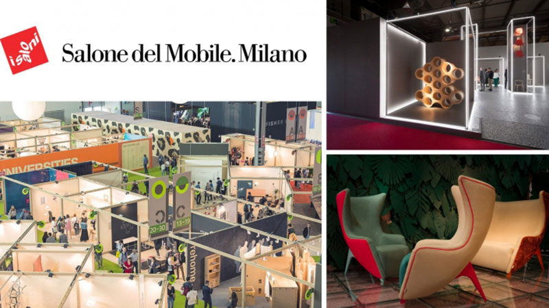 A Collage of Furniture Design Items and Halls at Salone del Mobile Exhibition