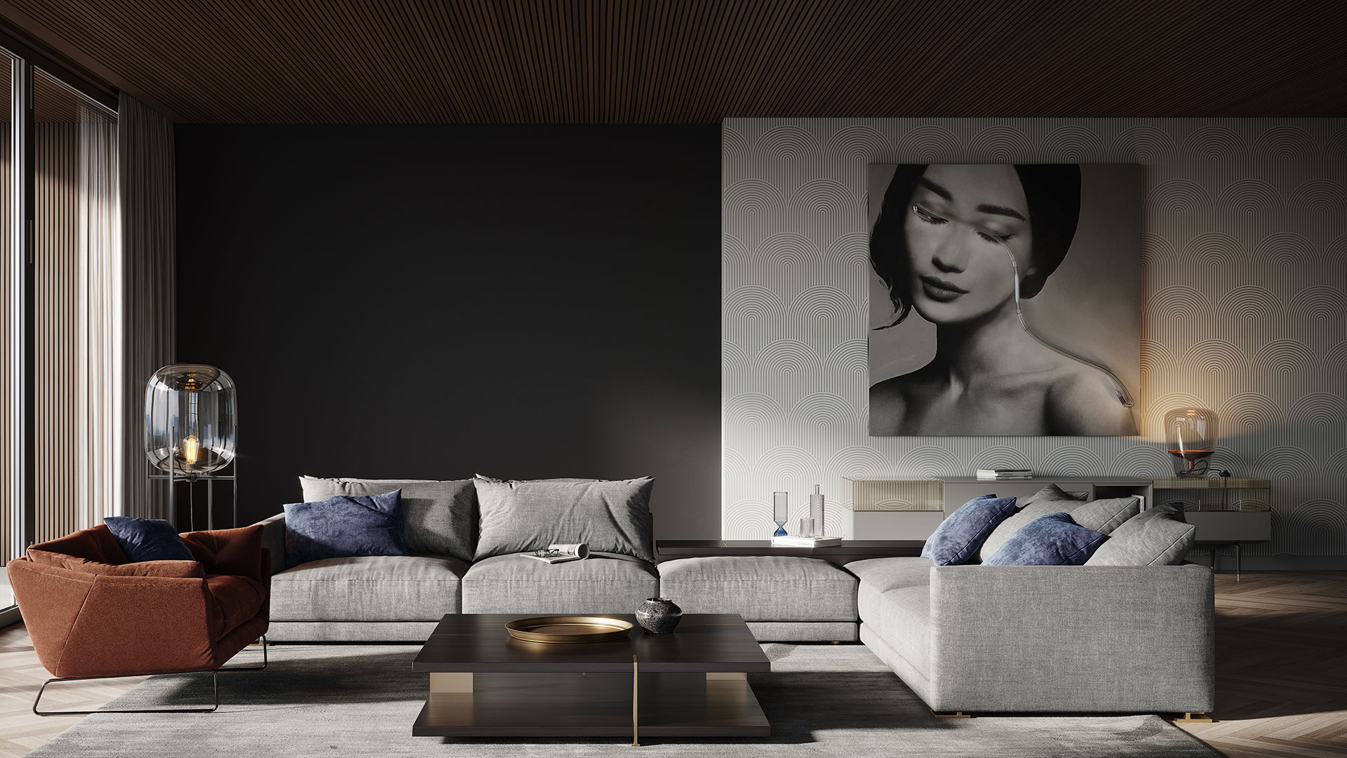 Rendering of a Modern Living Room Made with Corona 6 and 3ds Max