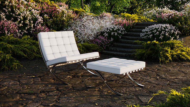 3D Render of a Product in a Garden at Sunset