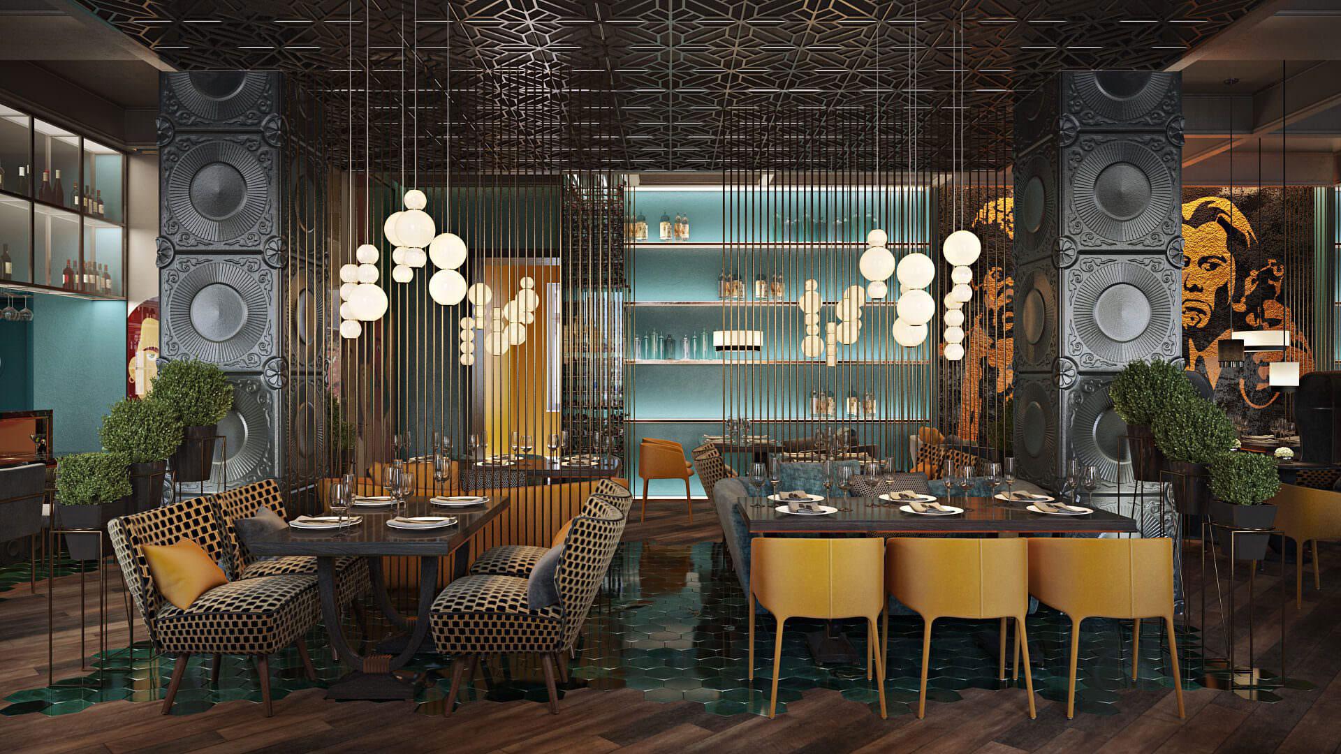 3D Virtually Photographed Interior of a Restaurant Interior