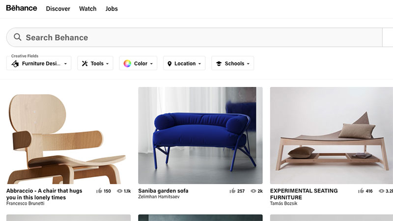 A Behance Main Page with Plenty of Furniture Designs One Can Use for Inspiration