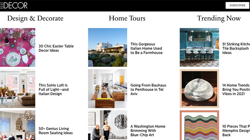 A Main Page of an Inspirational E-zine on Furniture and Interior Design