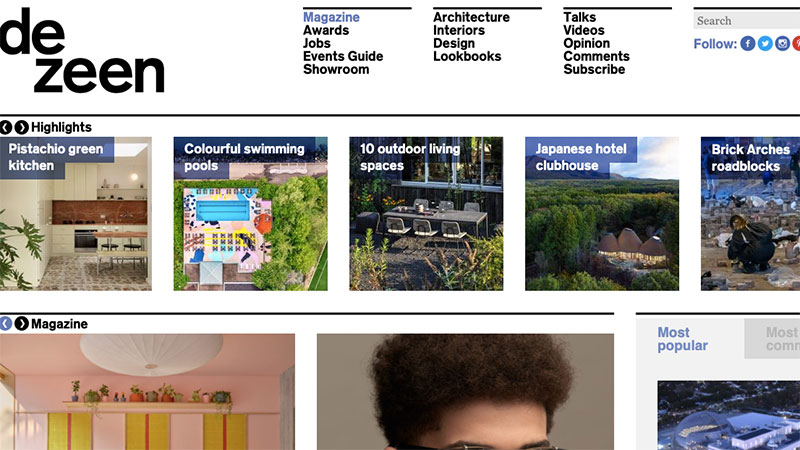 A Screenshot of a Dezeen's Main Page with Lots of Inspiring Articles on Architecture, Furniture and Design