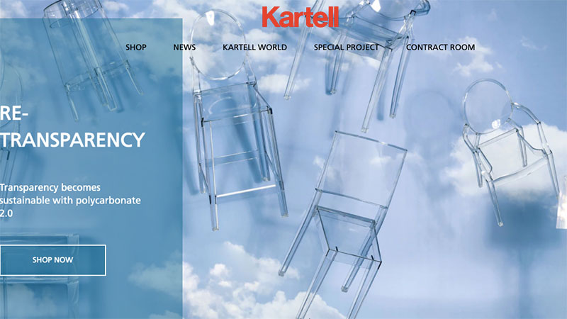 A Kartell's Mainpage with an Inspiring Image of Furniture Designs