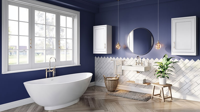Blue and White Background for a Bathroom Lifestyle Image