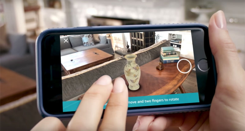 A User Placing Furniture and Decor to Her Living Room with Ecommerce AR Application