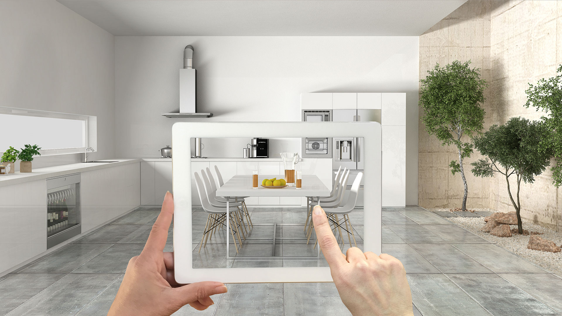 A Lady Trying Ecommerce AR Solutions for Her Kitchen