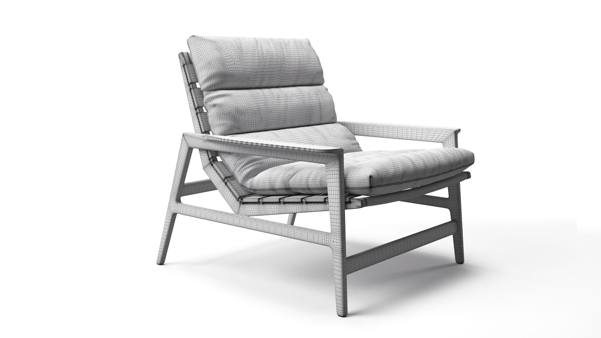 A 3D High-Poly 3D Model of a Chair on a White Background