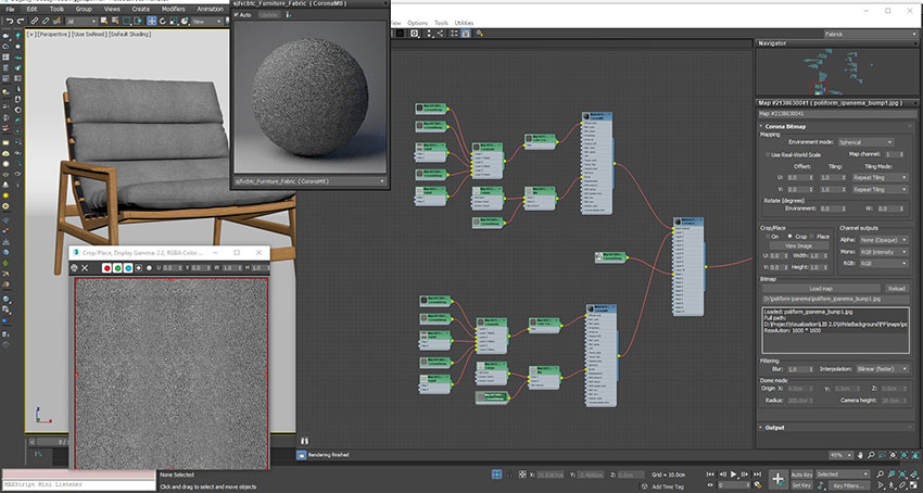 A Screenshot of a Process of Applying Complex Textures to a High-Poly Model of a Chair