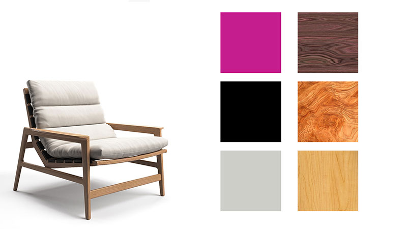An Interactive Product 3D Configurator with a Chair and Texture and Color Options