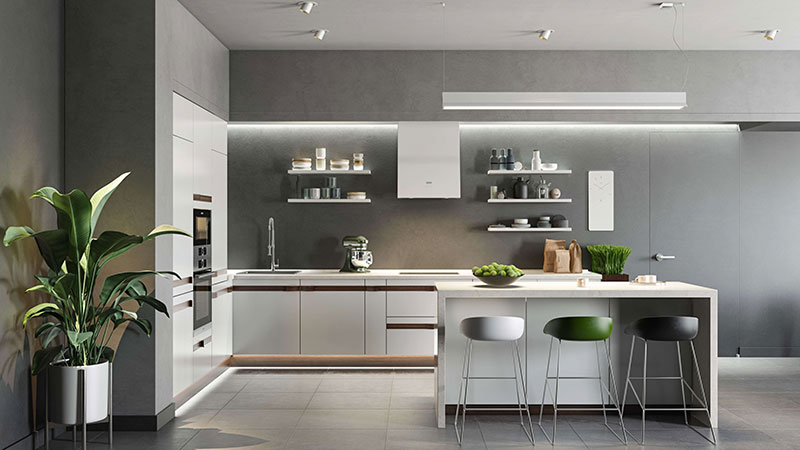 3D Rendering of a Kitchen with Modern Home Appliances
