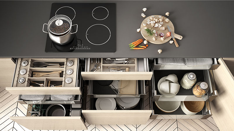 3D Product Rendering that Displays The Construction of Kitchen Drawers
