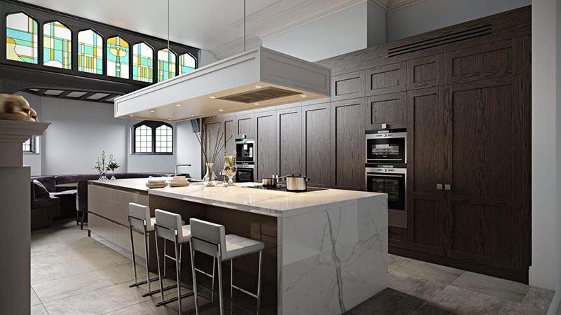 Kitchen 3D Rendering with Multiple Light Sources