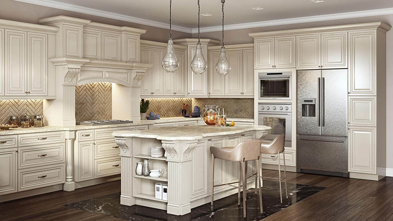 Traditional Kitchen 3D Rendering with Food and Decor
