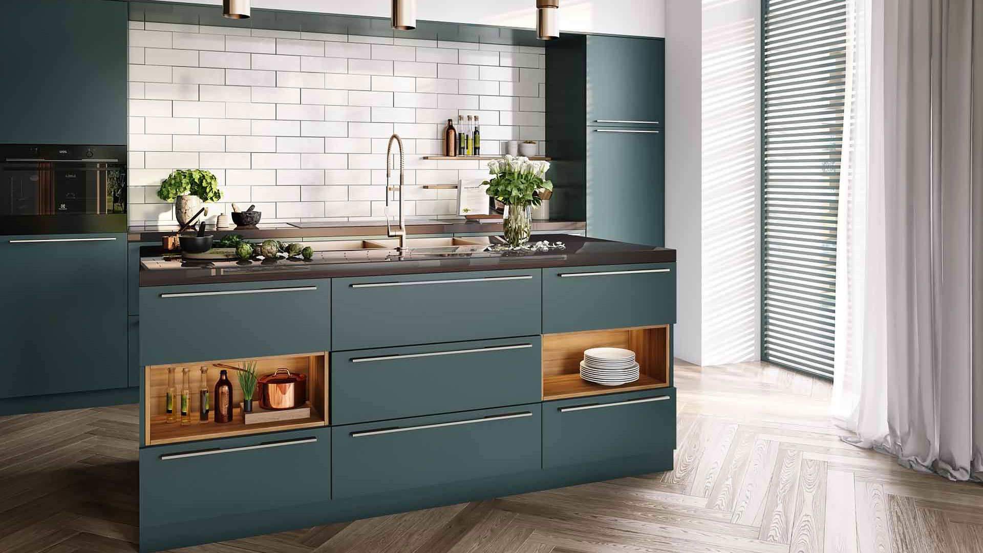 3D Rendering of a Minimalist Kitchen Furniture Set