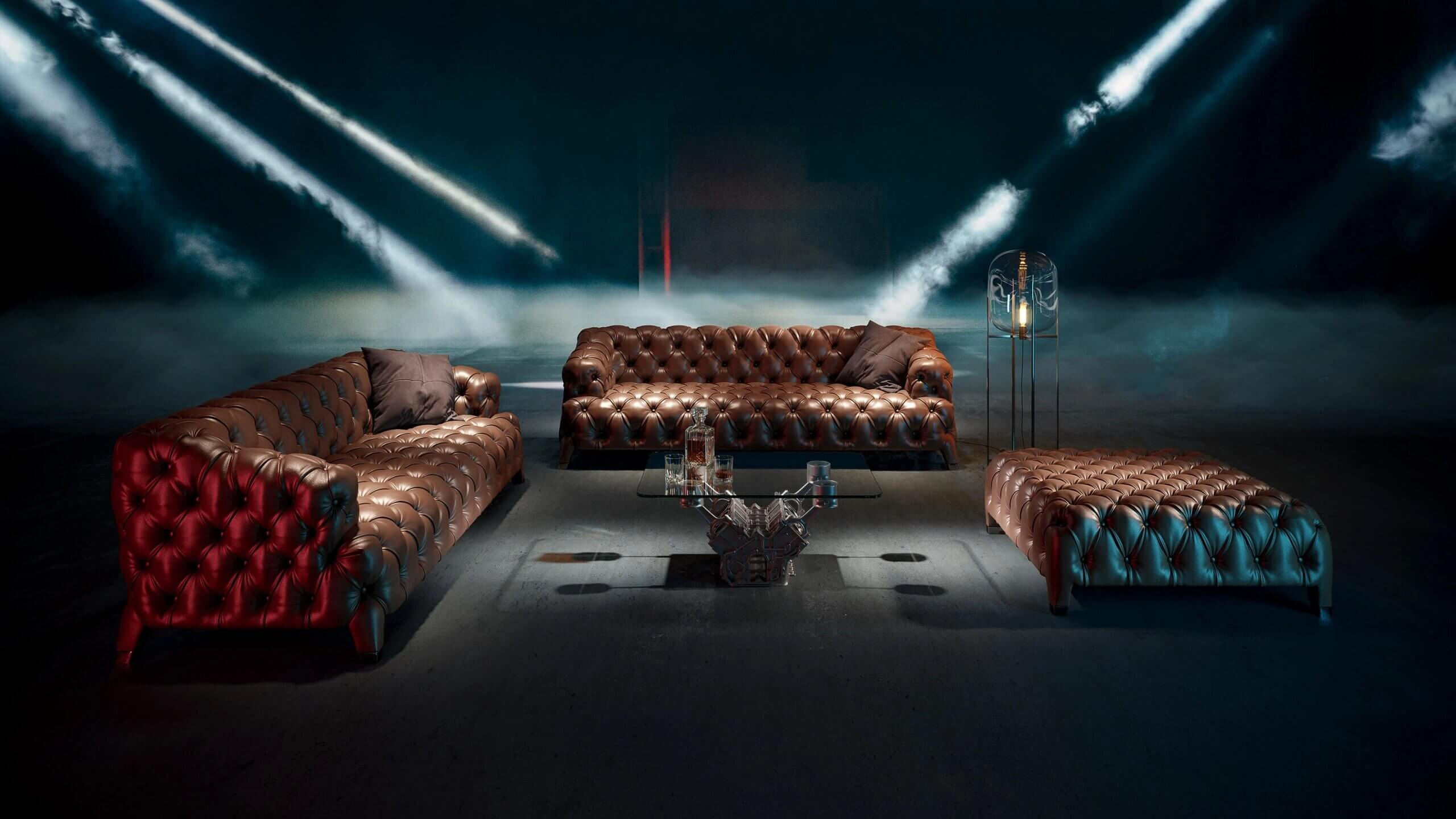 A 3D Render of Leather Sofas
