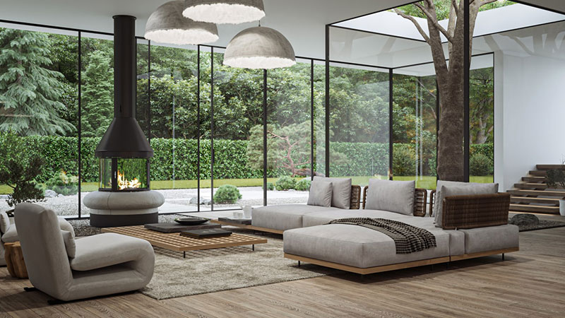 Product 3D Rendering of a Sustainable Zen Living Room