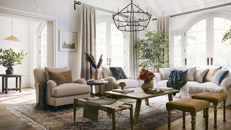 3D Rendering of a Living Room in a Country Style with Lots of Home Accessories