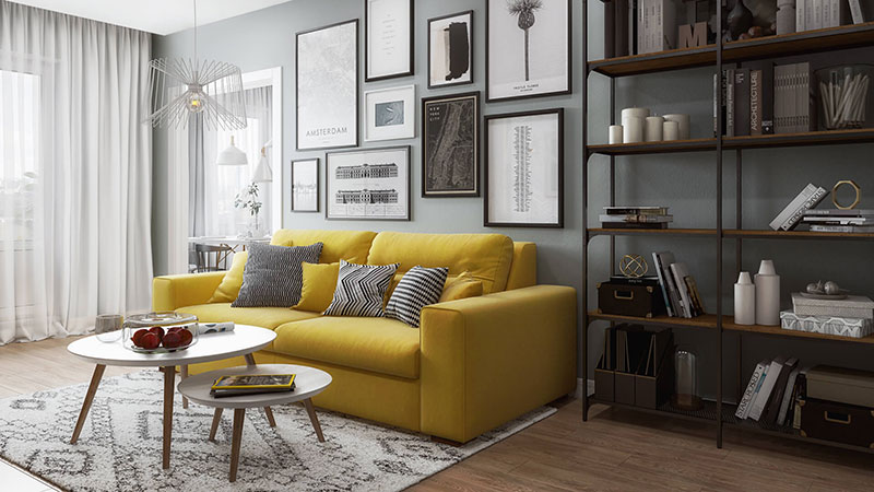 Living Room 3D Render Made in Trendy Colors and Style