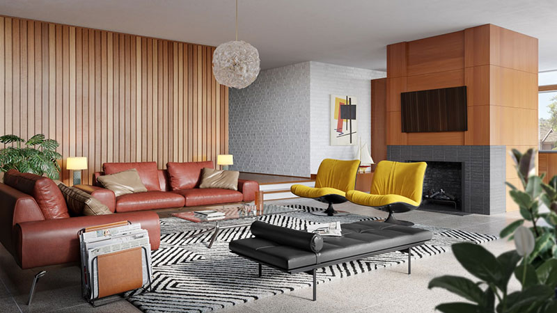 3D Render of a Mid-Century Living Room with an Interesting Soft Furniture Combo