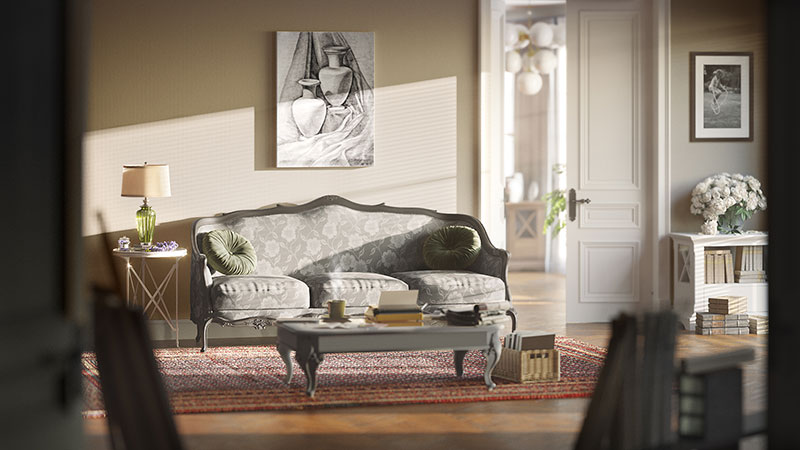 A Lyric Mood 3D Rendering of a Living Room with Furniture and Decor